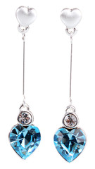 beautiful silver earrings with precious stones isolated on