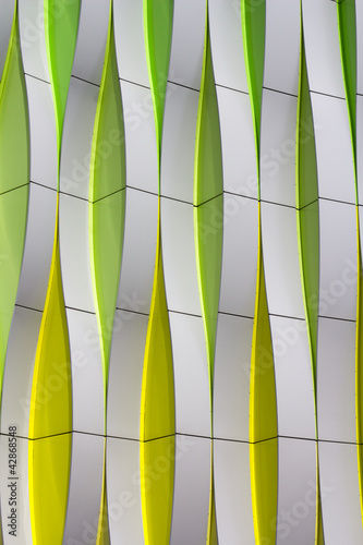 Detail of a modern facade with curved elements