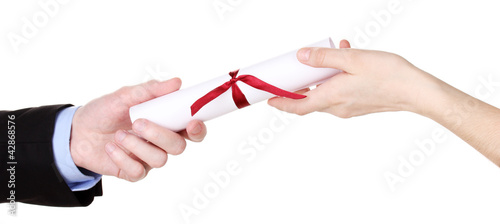Awarding diploma isolated on white