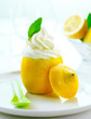 Fresh creamy icecream and lemon
