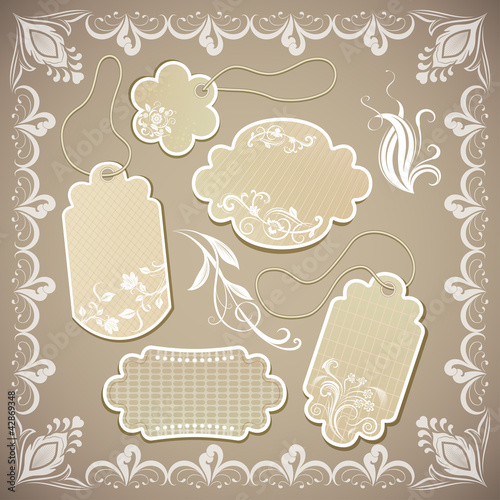 Vintage beige paper labels vector illustration.