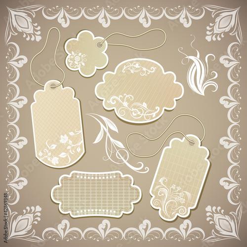 Vintage beige paper labels vector illustration.