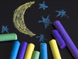 painted moon with crayons