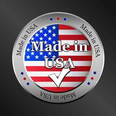 made in usa flag metallic vector button