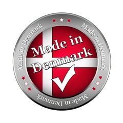 made in denmark vector button , metallic