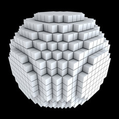 3D sphere made of cubes isolated on black background.