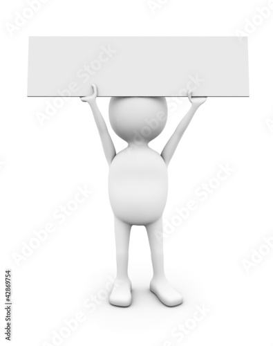 3D white man holding blank placard.