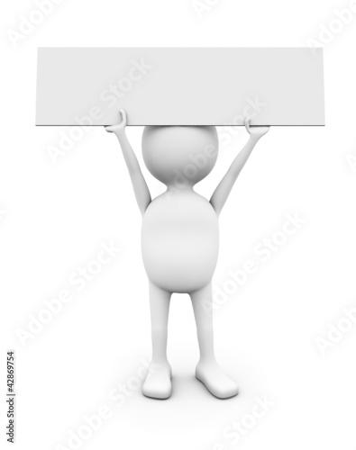 3D white man holding blank placard.