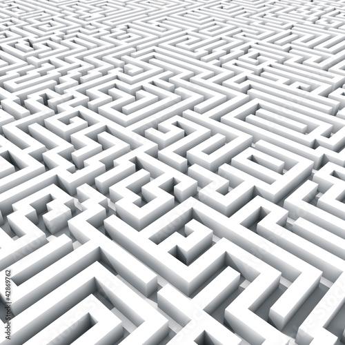 Endless large maze 3D render.