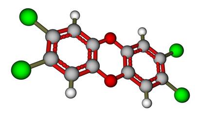 Poison 2,3,7,8-Tetrachlorodibenzo-p-dioxin (dioxin). 3D view