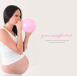 pregnant woman with pink balloon