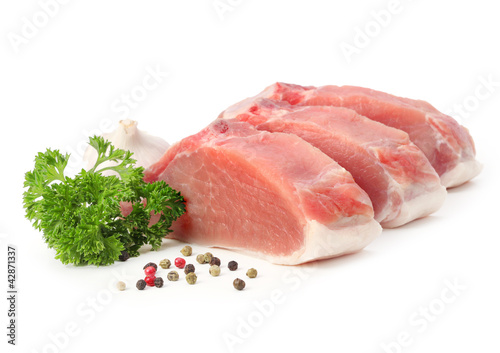 raw meat with parsley and pepper