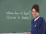 Nurse teacher translating English to Spanish