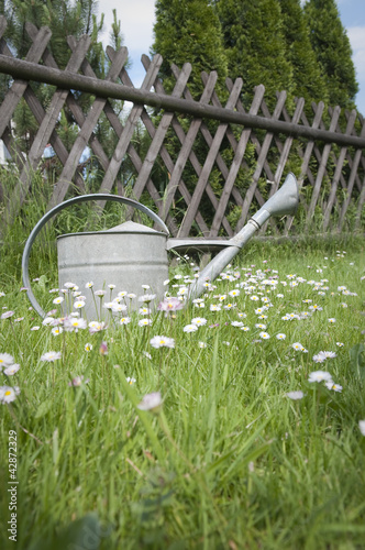 Watering can against wooden fence