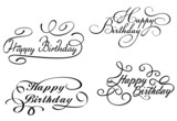 Happy birthday calligraphic embellishments poster