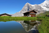 Fototapety Chalet and Eiger Mountain, Switzerland