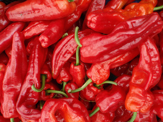 Red hot chili peppers displayed