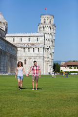 Young Couple of Tourists in Pisa