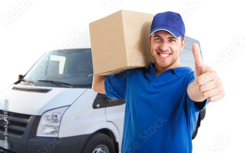 Happy deliverer portrait