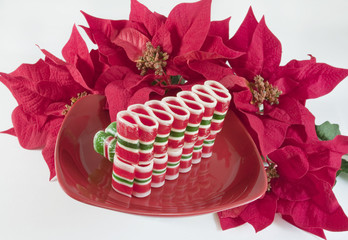 Ribbon Candy on Red Plate