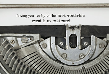 Loving You Statement Typed on Vintage Typewriter