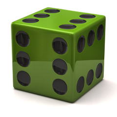 Green dice with six on all sides