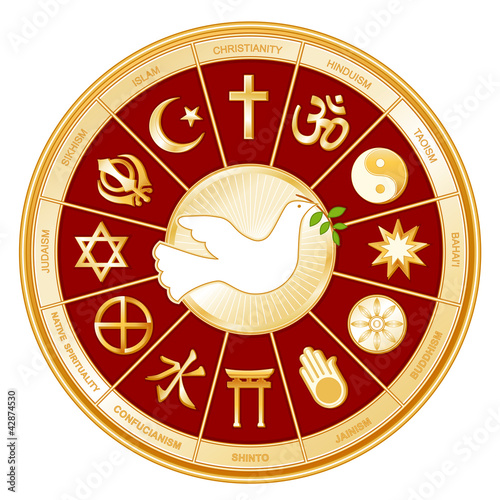 World Religions Mandala, Dove of Peace, Labels