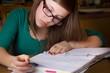 Young teenage doing homework