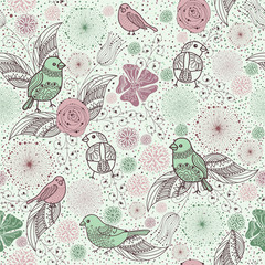 rich pattern with birds and flowers