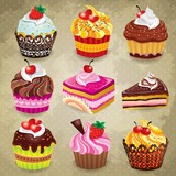 Fototapety Vintage cupcake set