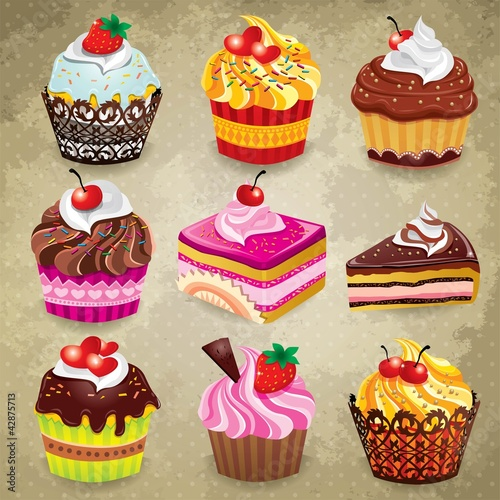 Fridge magnet Vintage cupcake set