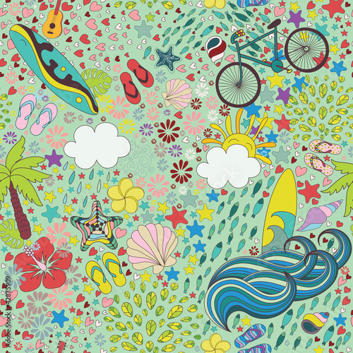 Materiał do szycia aloha summer seamless pattern