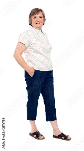 Old lady posing with hands in pocket