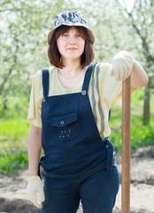 female farmer  in spring