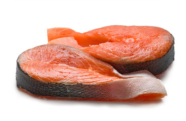 Salmon steak isolated on white background