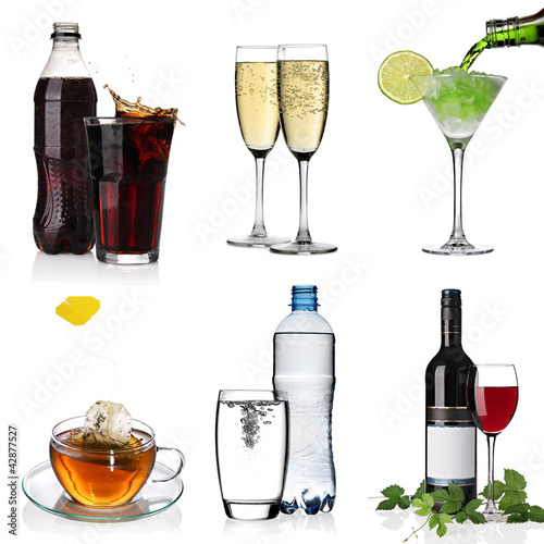 Collage with cola, cocktail, water, tea, champagne, wine