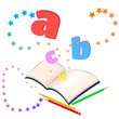 Magic of learning/ Open book with colorful stars and letters