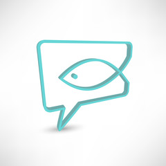 Christian religion symbol fish. Concept speech bubbles