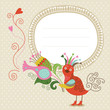 Cute greeting children card with bird