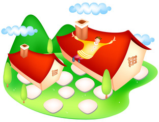 Man flying above houses