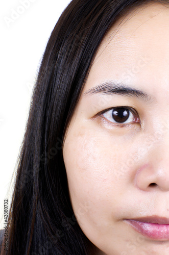 Close up Asian woman face.