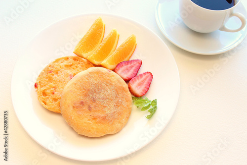 English muffin with fruit and coffee -breakfast-