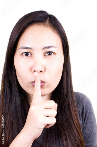 Woman stop talk with finger.