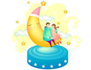 Couple sitting on crescent moon
