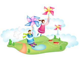 Boy and girl flying holding pinwheel