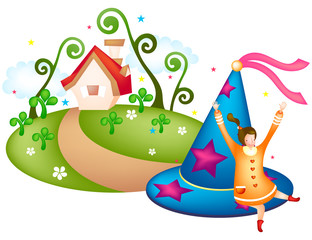 Girl with party hat and house in background