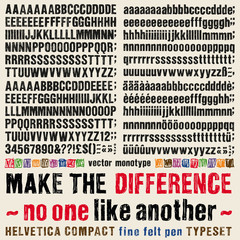Sketchy Helvetica compact fine felt typeset