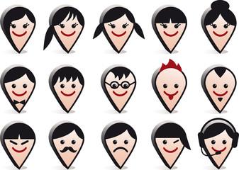 avatar heads, vector people icon set