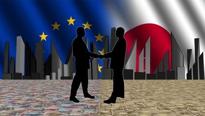 European Japanese meeting with skyline flags
