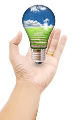 Hand holding Light Bulb.